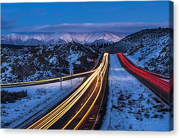 Winter Roads Canvas Print - Hwy. 395 At Blue Hour by Cat Connor