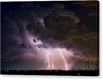 Hwy 52 - Hwy 287 Lightning Storm Image 29 Canvas Print by James BO  Insogna
