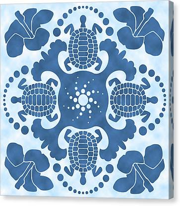 Hybiscus And Turtle Hawaiian Quilt Block Canvas Print