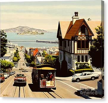 Alcatraz Canvas Print - Hyde Street San Francisco by Frank Dalton