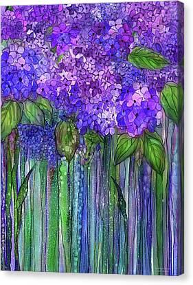 Canvas Print featuring the mixed media Hydrangea Bloomies 1 - Purple by Carol Cavalaris