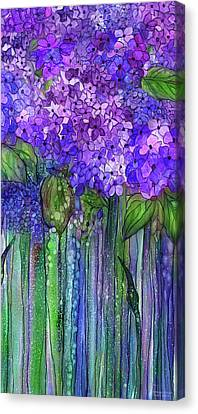 Canvas Print featuring the mixed media Hydrangea Bloomies 2 - Purple by Carol Cavalaris