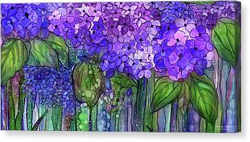 Canvas Print featuring the mixed media Hydrangea Bloomies 4 - Purple by Carol Cavalaris