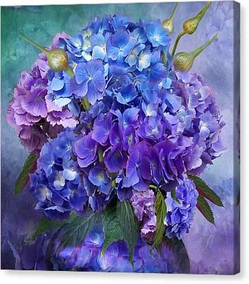 Hydrangea Bouquet - Square Canvas Print by Carol Cavalaris
