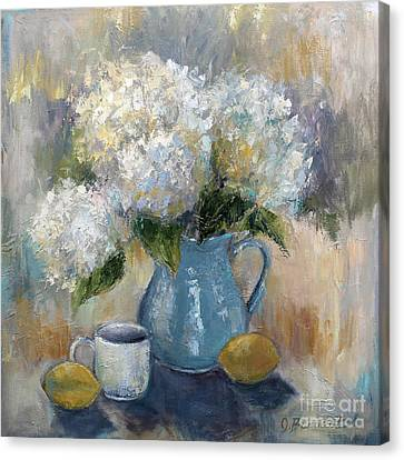 Canvas Print featuring the painting Hydrangea Morning by Jennifer Beaudet