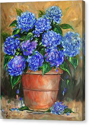 Hydrangeas In Pot Canvas Print