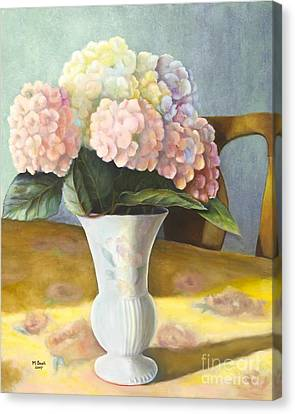 Canvas Print featuring the painting Hydrangeas by Marlene Book