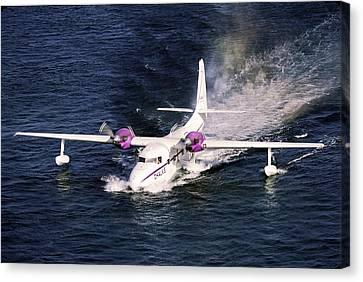 Hydroplane Splashdown Canvas Print by Sally Weigand