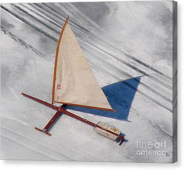 Canvas Print featuring the photograph I-001 Iceboat - Wood Antique by Bill Lang