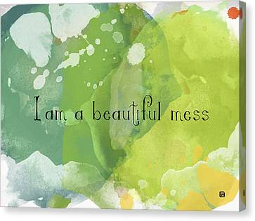 Canvas Print featuring the painting I Am A Beautiful Mess by Lisa Weedn