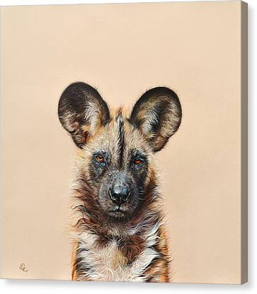 I Am A Wild Thing - African Painted Dog Canvas Print by Elena Kolotusha