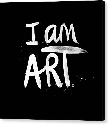 Black And White Canvas Print - I Am Art- Painted by Linda Woods