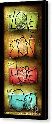 Canvas Print featuring the mixed media I Am God by Shevon Johnson