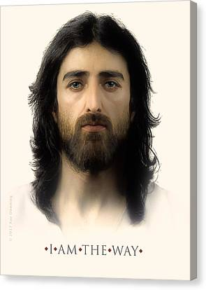 Jesus Face Canvas Print - I Am The Way With Quote by Ray Downing