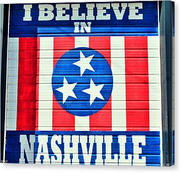 Downtown Nashville Canvas Print - I Believe In Nashville by Lisa Wooten
