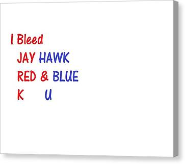 Canvas Print featuring the photograph i bleed JAYHawk by Aaron Martens