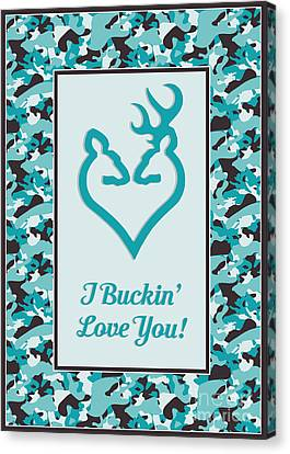 Canvas Print featuring the digital art I Buckin' Love You by JH Designs