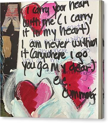 Canvas Print featuring the painting I Carry Your Heart In My Heart II by Kim Nelson