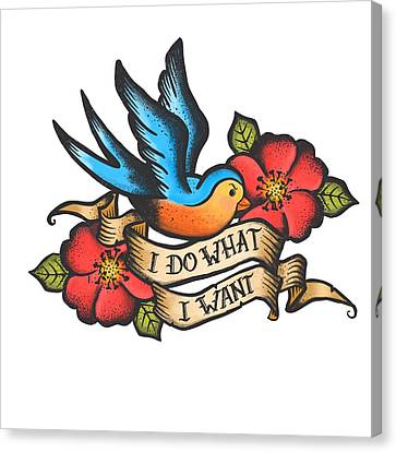 I Do What I Want Vintage Bluebird And Rose Tattoo Canvas Print by Little Bunny Sunshine