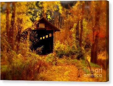 Fall Landscape Canvas Print - I Double Dog Dare Ya by Lois Bryan