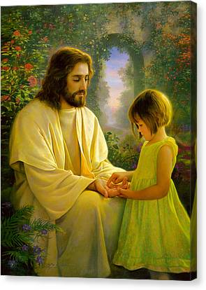 Touching Canvas Print - I Feel My Savior's Love by Greg Olsen