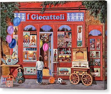 Toy Shop Canvas Print - I Giocattoli by Guido Borelli