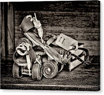Rollerskate Canvas Print - I Got A Brand New Pair Of Roller Skates Bw by Heather Applegate