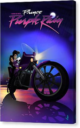 Canvas Print featuring the digital art I Grew Up With Purplerain by Nelson dedos Garcia