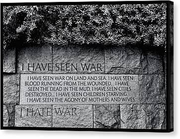 Scottish Dog Canvas Print - I Hate War by Allen Beatty