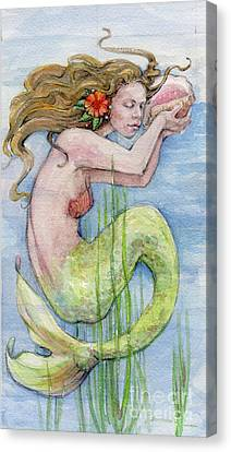 Canvas Print featuring the painting Mermaid by Lora Serra