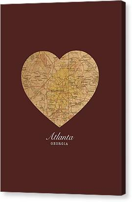 I Heart Atlanta Georgia Vintage City Street Map Americana Series No 013 Canvas Print by Design Turnpike