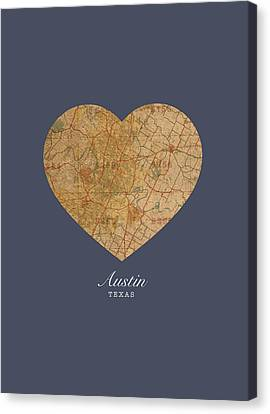 I Heart Austin Texas Vintage City Street Map Americana Series No 028 Canvas Print