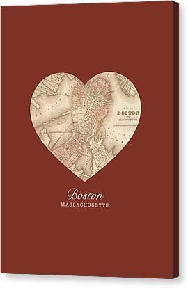 Massachusetts Canvas Print - I Heart Boston Massachusetts Vintage City Street Map Americana Series No 011 by Design Turnpike