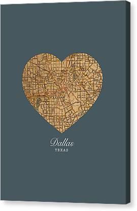 I Heart Dallas Texas Vintage City Street Map Love Americana Series No 030 Canvas Print by Design Turnpike