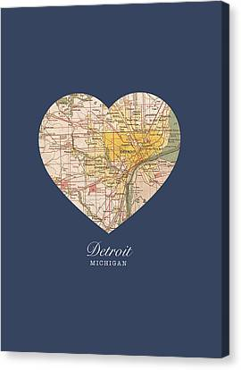 I Heart Detroit Michigan Vintage City Street Map Americana Series No 001 Canvas Print by Design Turnpike
