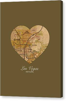 I Heart Las Vegas Nevada Vintage City Street Map Americana Series No 023 Canvas Print by Design Turnpike
