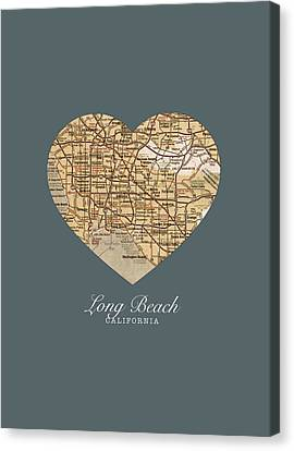 I Heart Long Beach California Vintage City Street Map Americana Series No 019 Canvas Print by Design Turnpike