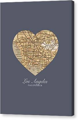 I Heart Los Angeles California Vintage City Street Map Americana Series No 018 Canvas Print by Design Turnpike