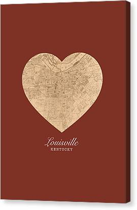 I Heart Louisville Kentucky Vintage City Street Map Americana Series No 007 Canvas Print by Design Turnpike
