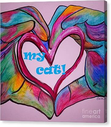 I Heart My Cat Canvas Print by Eloise Schneider