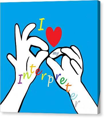 I Heart My Interpreter Canvas Print by Eloise Schneider