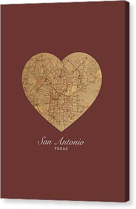 I Heart San Antonio Texas Vintage City Street Map Love Americana Series No 029 Canvas Print by Design Turnpike
