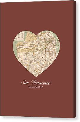 I Heart San Francisco California Vintage City Street Map Americana Series No 017 Canvas Print by Design Turnpike