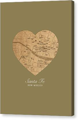 I Heart Santa Fe New Mexico Vintage City Street Map Americana Series No 027 Canvas Print by Design Turnpike
