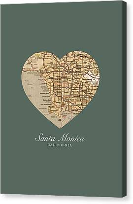 I Heart Santa Monica California Vintage City Street Map Americana Series No 020 Canvas Print by Design Turnpike