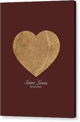 I Heart St Louis Vintage City Street Map Americana Series No 014 Canvas Print