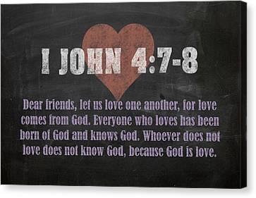 I John 4 7-8 Inspirational Quote Bible Verses On Chalkboard Art Canvas Print