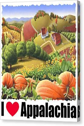 I Love Appalachia - Appalachian Pumpkin Patch - Rural Farm Landscape Canvas Print by Walt Curlee