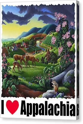 I Love Appalachia - Deer Chipmunk High Meadow Appalachian Landscape 1 Canvas Print by Walt Curlee