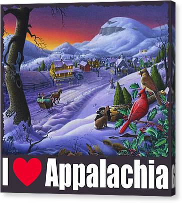 I Love Appalachia T Shirt - Small Town Winter Landscape 2 - Cardinals Canvas Print by Walt Curlee